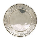 Early 20C Chinese Silver Dish Plate Flower Mk
