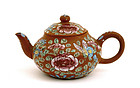 Early 20C Chinese Famille Rose Yixing Teapot Mk
