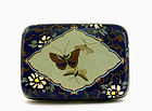 Old Japanese Cobalt Blue Cloisonne Butterfly Box