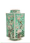 Late 19C Chinese Sancai Square Vase Plum Bird Mk