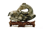 19C Chinese Jade Carved Stag Hold Linchi w Stand