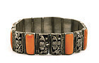Early 20C Chinese Silver Coral Cabochons Bracelet Mk