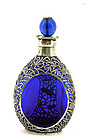 Old Chinese Silver Decanter Blue Peking Glass Bead Mk