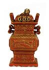 Old Chinese Gilt Coral Red Porcelain Censer Fu Lion