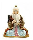 Chinese Famille Rose Seated Taoist Deity Figure