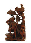 Chinese Culture Revolution Wood Carved Hunter Figurine