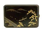 Japanese Makie Lacquer Cigarette Case River Scene