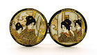 Old Japanese Satsuma Button Belt Buckle Geisha