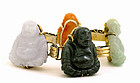 Chinese Jade Happy Buddha Silver Gold Wash Bracelet
