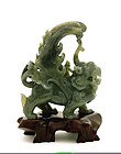 Chinese Spinach Jade Carved Beast Animal