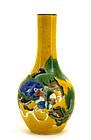 Chinese Yellow Ground Sancai Fu Lion Dog Vase