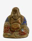 Late 19C Chinese Gilt Bronze Enamel Cloisonne Buddha