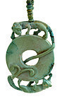 19C Chinese Turquoise Coin Beast Pendant Bead Necklace
