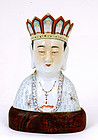 Old Chinese Famille Rose Monk Buddha Figurine Mk