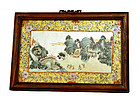 Early 20C Chinese Famille Rose Plaque Village Scene