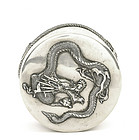 Chinese Silver Gold Washed Dragon Round Box Mk