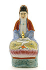 Old Chinese Famille Rose Quin Ying Buddha Figurine  Mk