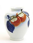 Old Japanese Fukagawa Persimmon Vase Jar