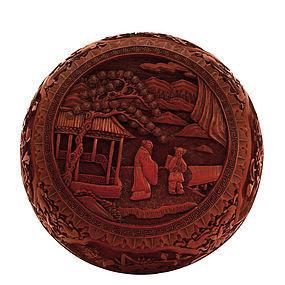 19C Chinese Lacquer Cinnabar Box Landscape Scene