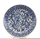 Early 20C Chinese Blue & White Dragon Plate Charger