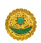 Late 19C Chinese 24K Gold Jadeite Pin Brooch Mk