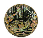 19C Chinese Lacquer MOP Lac Burgaute Inlay Box Mk