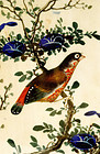 Late 19C Chinese Export Rice Paper Painting Bird