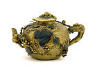 Old Chinese Gilt Copper Cloisonne Teapot Squirrel