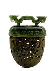 Early 20C Chinese Jade Carved Incense Holder Pomander