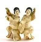 Late 19C Japanese Polychrome Carved Netsuke Geisha