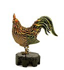Chinese Filigree Gilt Silver Enamel Rooster Bird Mk