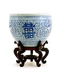 Chinese Blue and White Chirography Fish Bowl