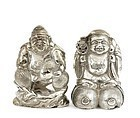 Old Japanese Sterling Silver Salt Pepper 7 Lucky God Mk