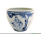 Old Chinese Blue & White Porcelain Fish Bowl Sg