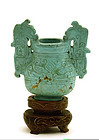 Early 20C Chinese Turquoise Carved Small Censer