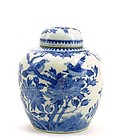 Early 20C Chinese Blue & White Cover Jar Bird
