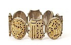Chinese Silver Gold Wash Bracelet Chirography