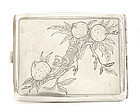 Chinese Silver Cigarette Case with Monkey & Peach Mk