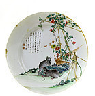Early 20C Chinese Famille Rose Porcelain Plate 2 Rat
