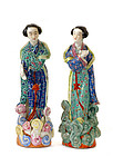 2 Chinese Famille Rose Lady Figurine WeiHungTai Mk