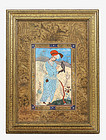 19C Persian Islamic Iran Painting Man With Hawk
