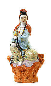 Early 20C Chinese Famille Rose Quan Guanying Buddha Sg