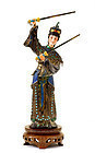 Chinese Silver Enamel Lady Sword Turquoise Bead Figure