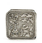 Early 20C Chinese Silver  Square Box Musician Mk