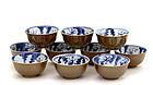 10 Chinese Blue & White Brown Café-au-Lait Tea Cup Mk