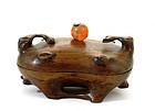 19C Chinese Huanghuali Wood Box Agate Bead Finial