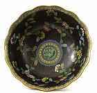 Chinese Cloisonne Enamel Flower Bowl Mk