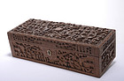 Early 20C Chinese Export Sandalwood Dragon Box