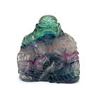 Chinese Fluorite Carved Happy Buddha Figurine Figure