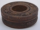 Early 20C Chinese Rattan Bamboo Basket Necklace Box